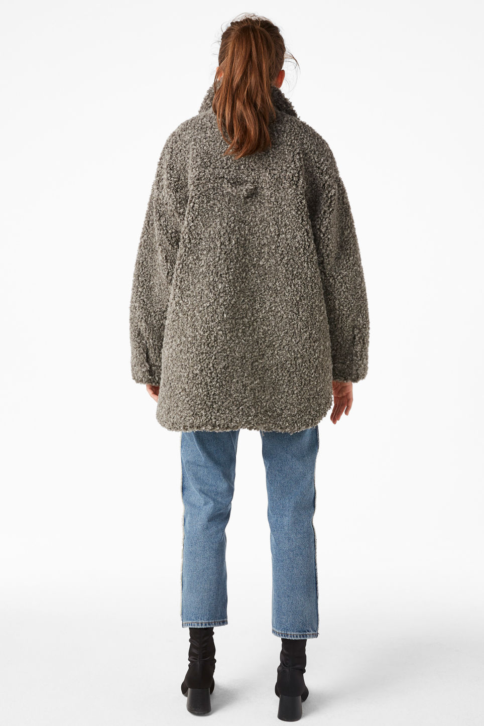 Model back image of Monki faux shearling coat in grey