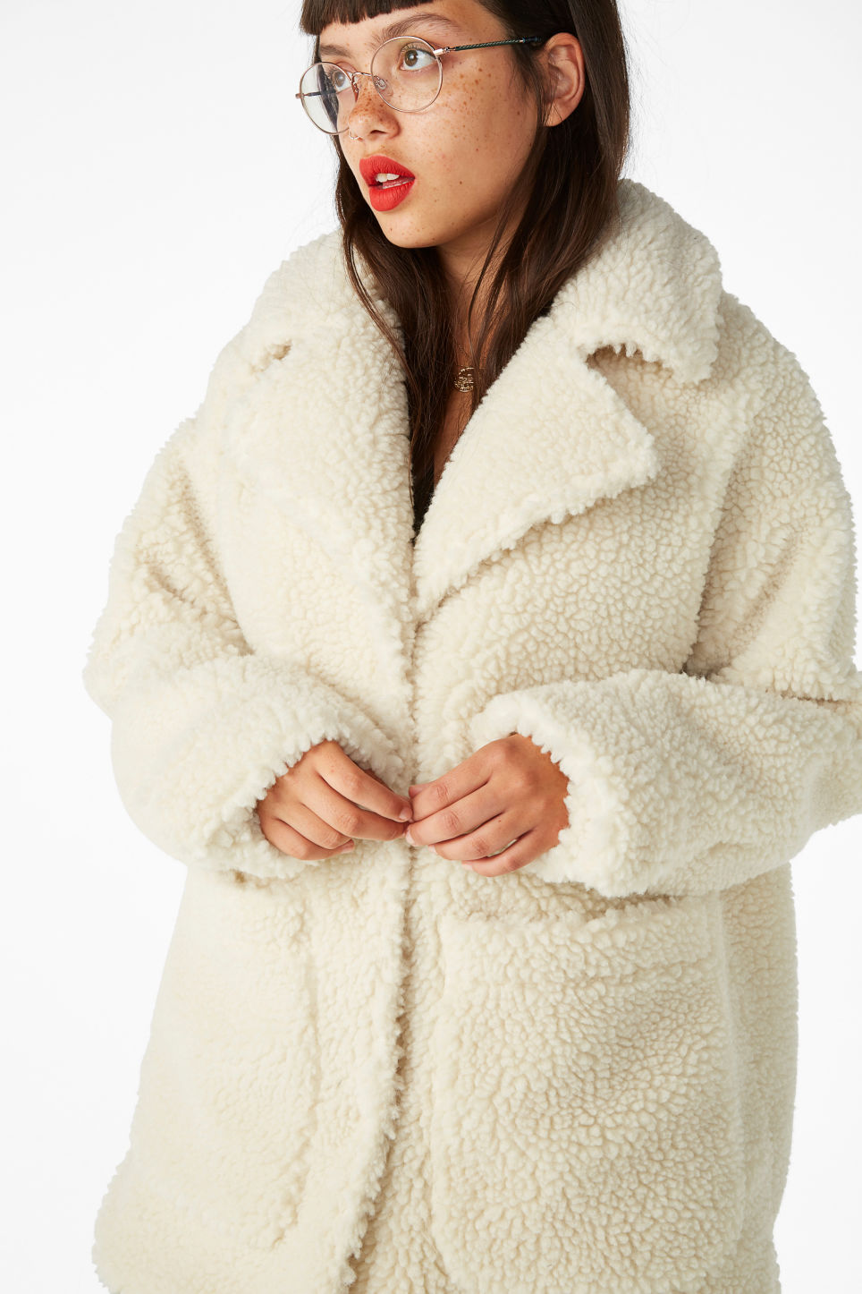 a4324c234f3 Faux shearling coat - Whipped white - Coats   Jackets - Monki