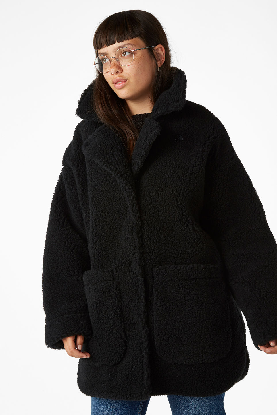 Model front image of Monki faux shearling coat in black
