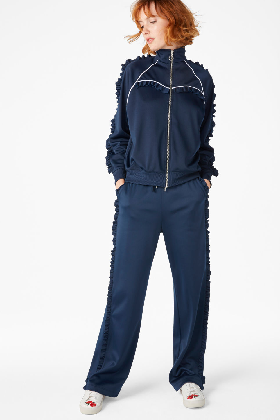 Model front image of Monki frill track trousers in blue