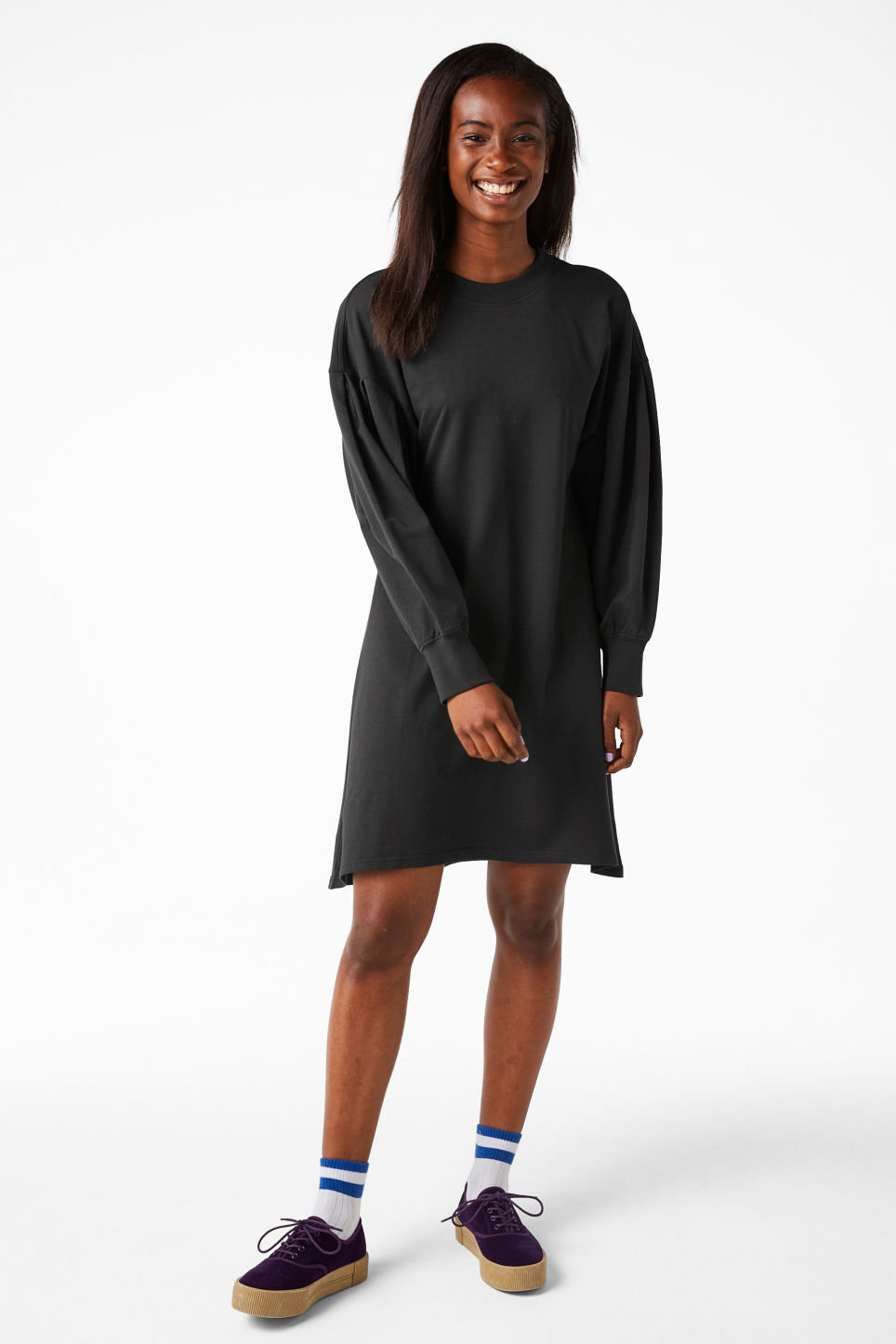Model front image of Monki puff-sleeved sweater dress in grey