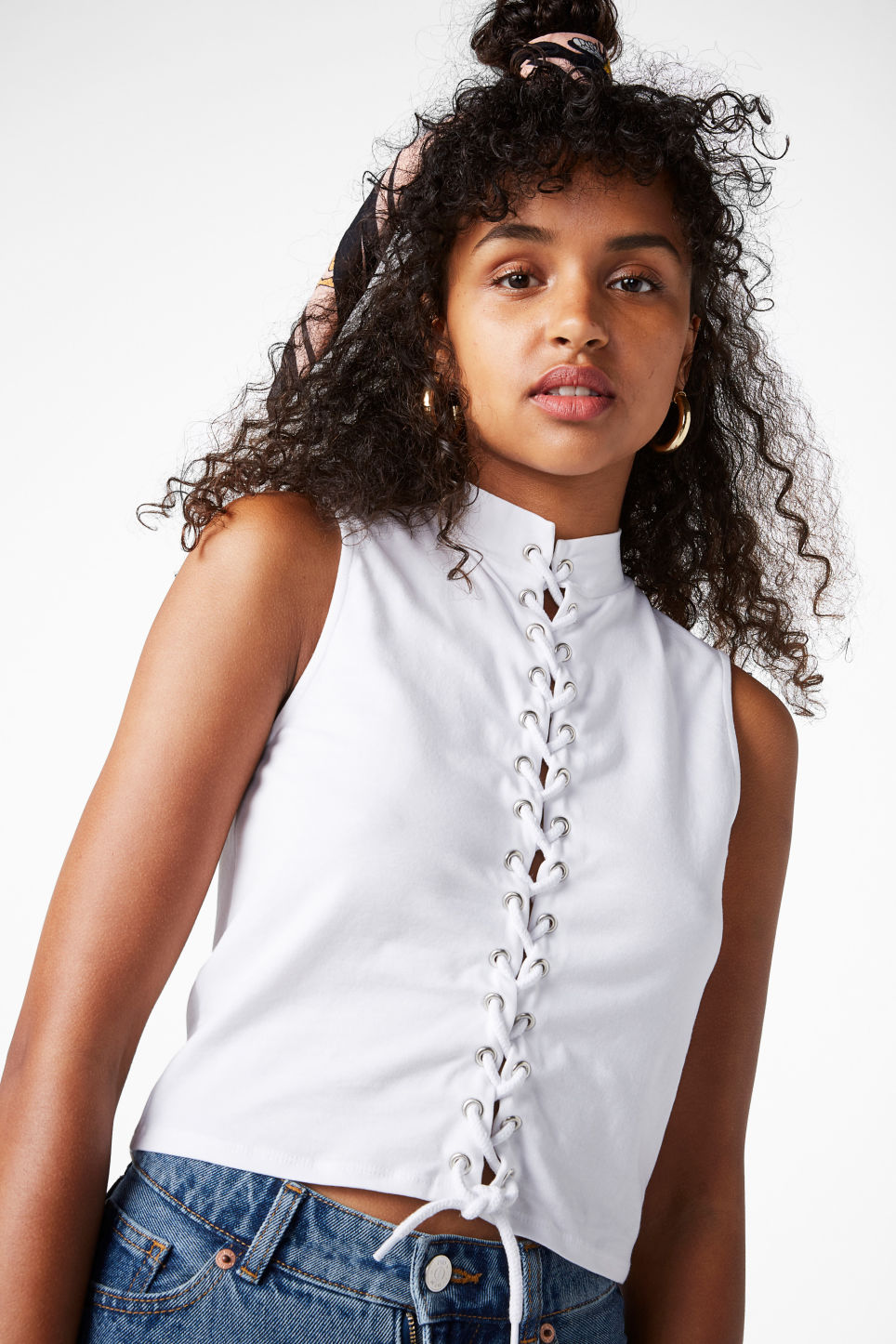 Model front image of Monki lace up cropped top in white