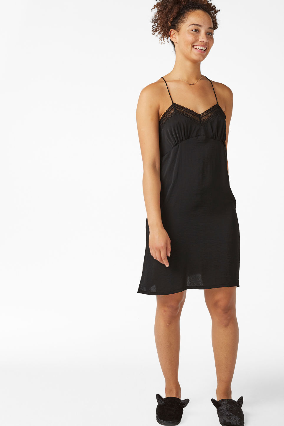 Model front image of Monki nighty slip in black