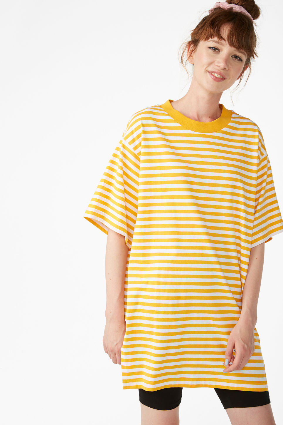Model front image of Monki oversized cotton tee in yellow