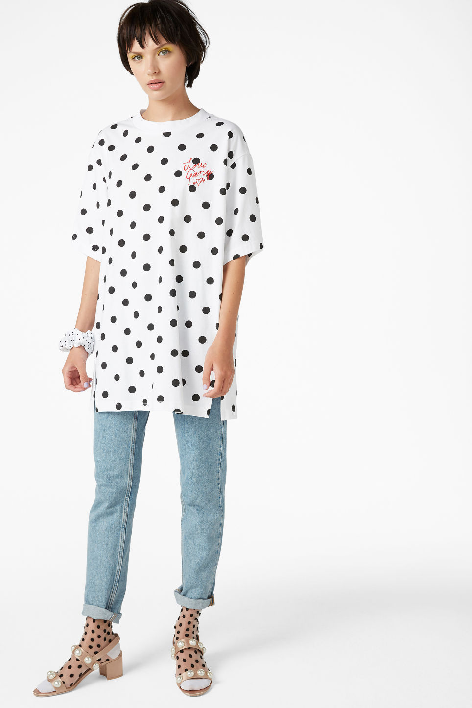 Model side image of Monki oversized cotton tee in white