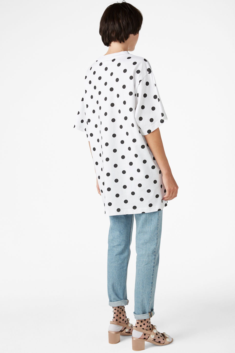 Model back image of Monki oversized cotton tee in white