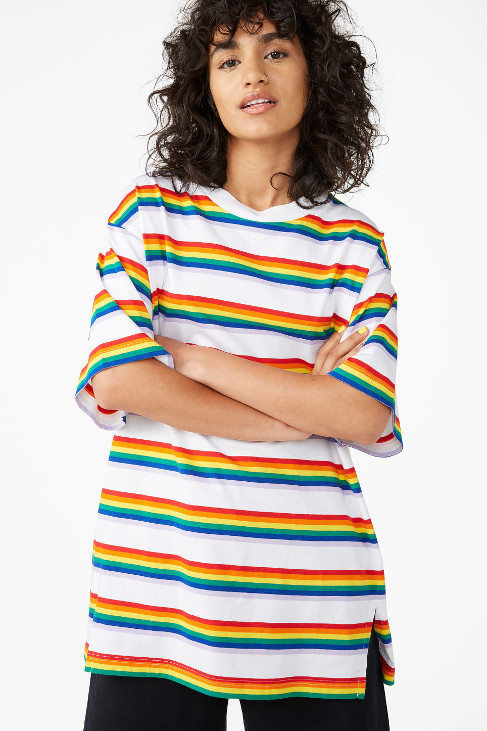 Model front image of Monki oversized cotton tee in white
