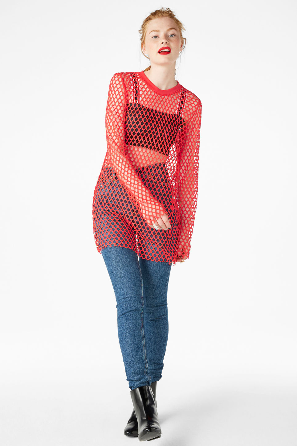 Model front image of Monki long fishnet top in red