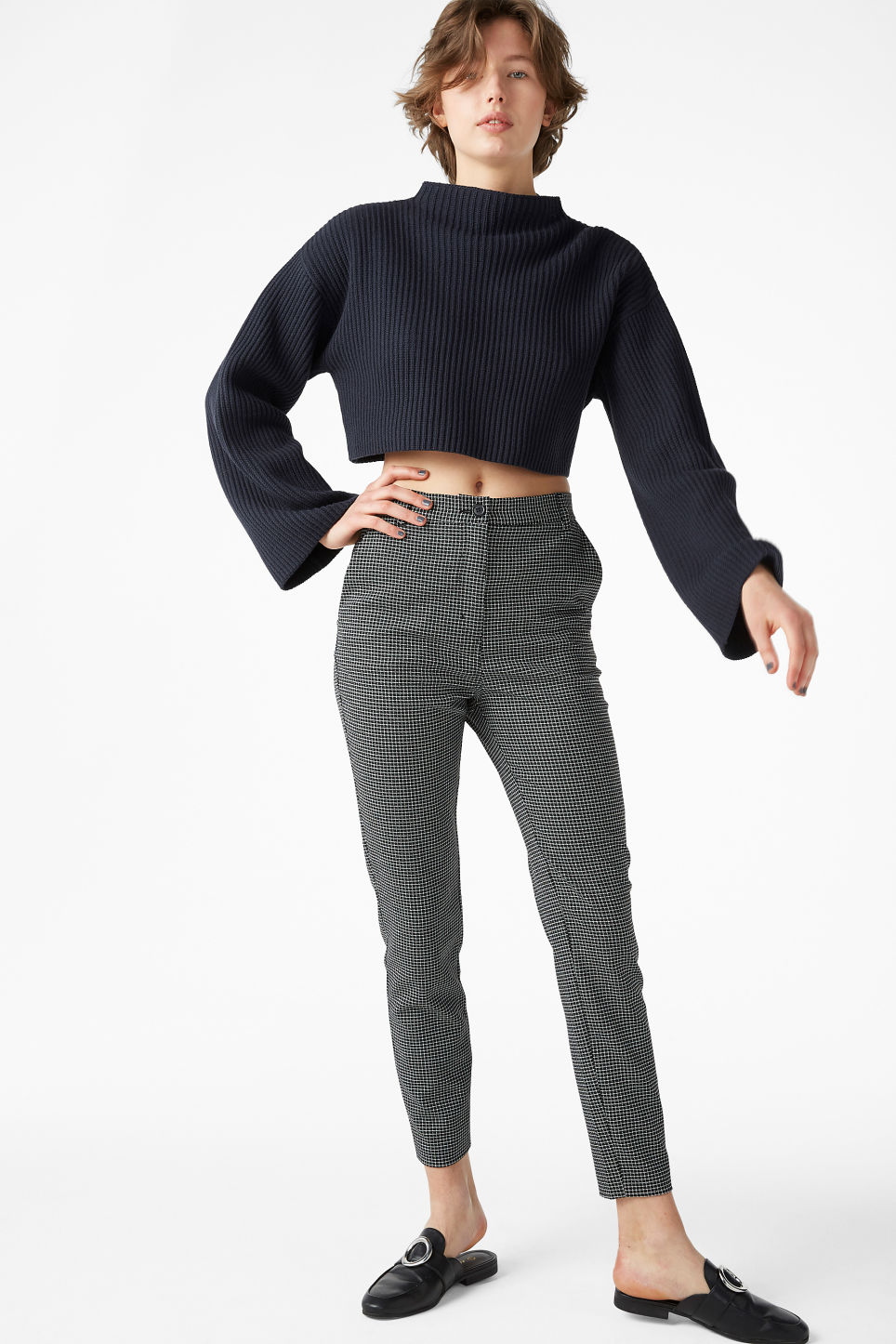 Model front image of Monki dressy tapered trousers in black