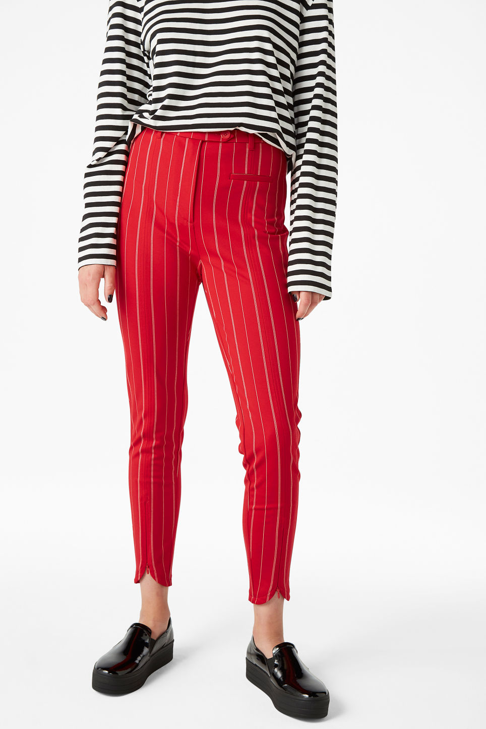 Model front image of Monki stretchy striped trousers in red