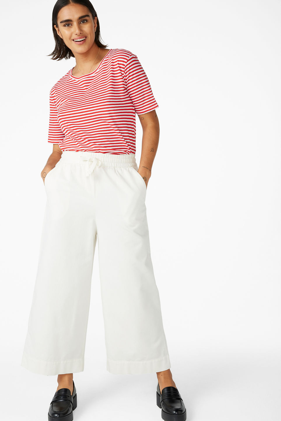 Model front image of Monki wide leg canvas trousers in white