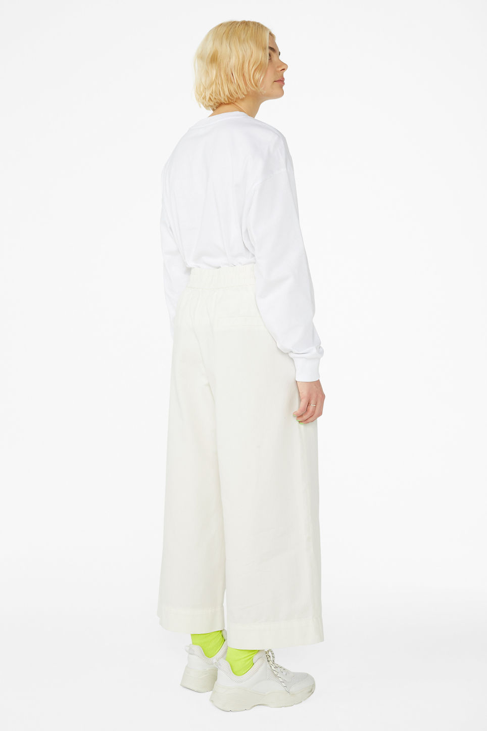 Model back image of Monki wide leg canvas trousers in white