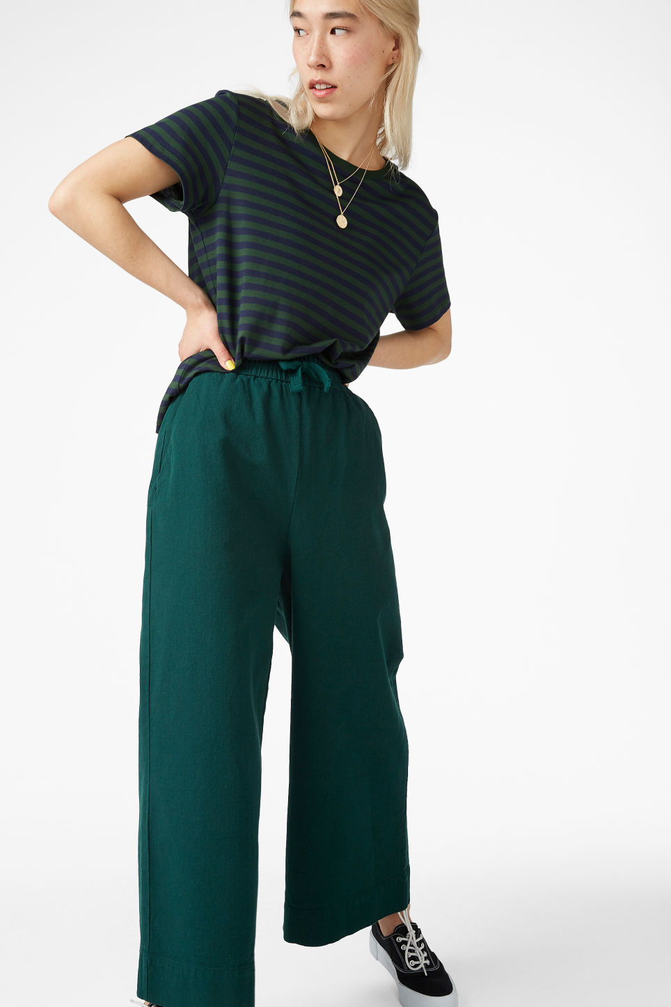 Model front image of Monki wide leg canvas trousers in green