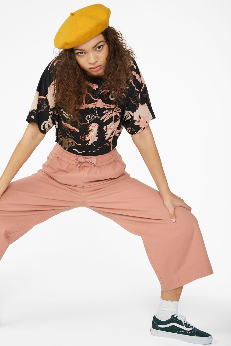Model front image of Monki wide leg canvas trousers in pink