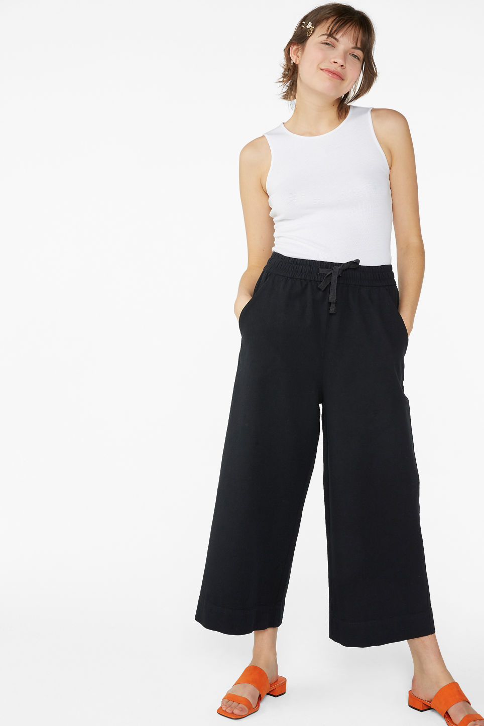 Model front image of Monki wide leg canvas trousers in black