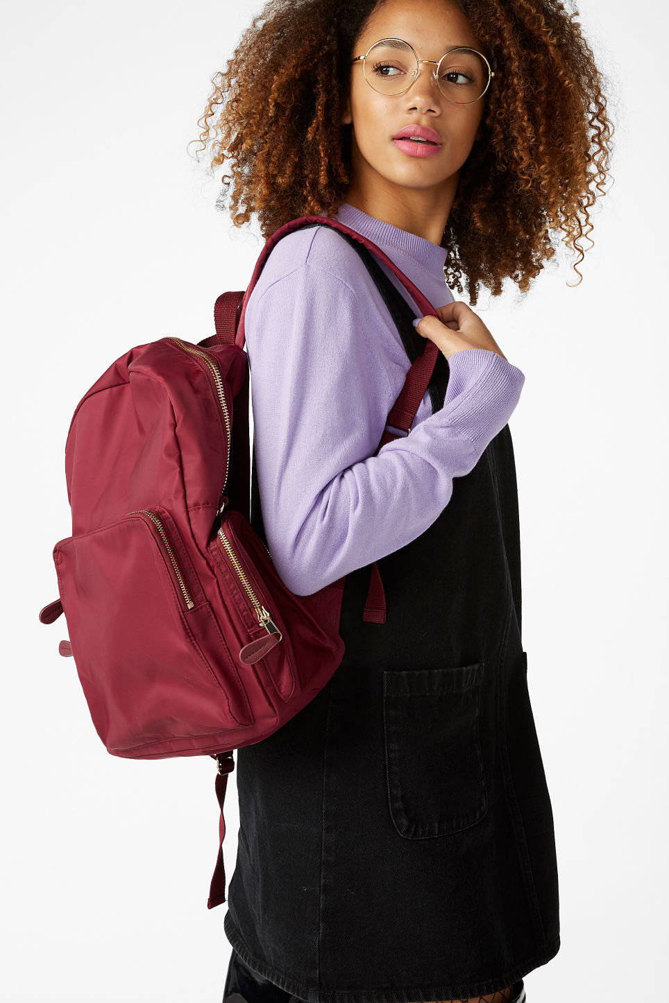 Model front image of Monki pocket backpack in red
