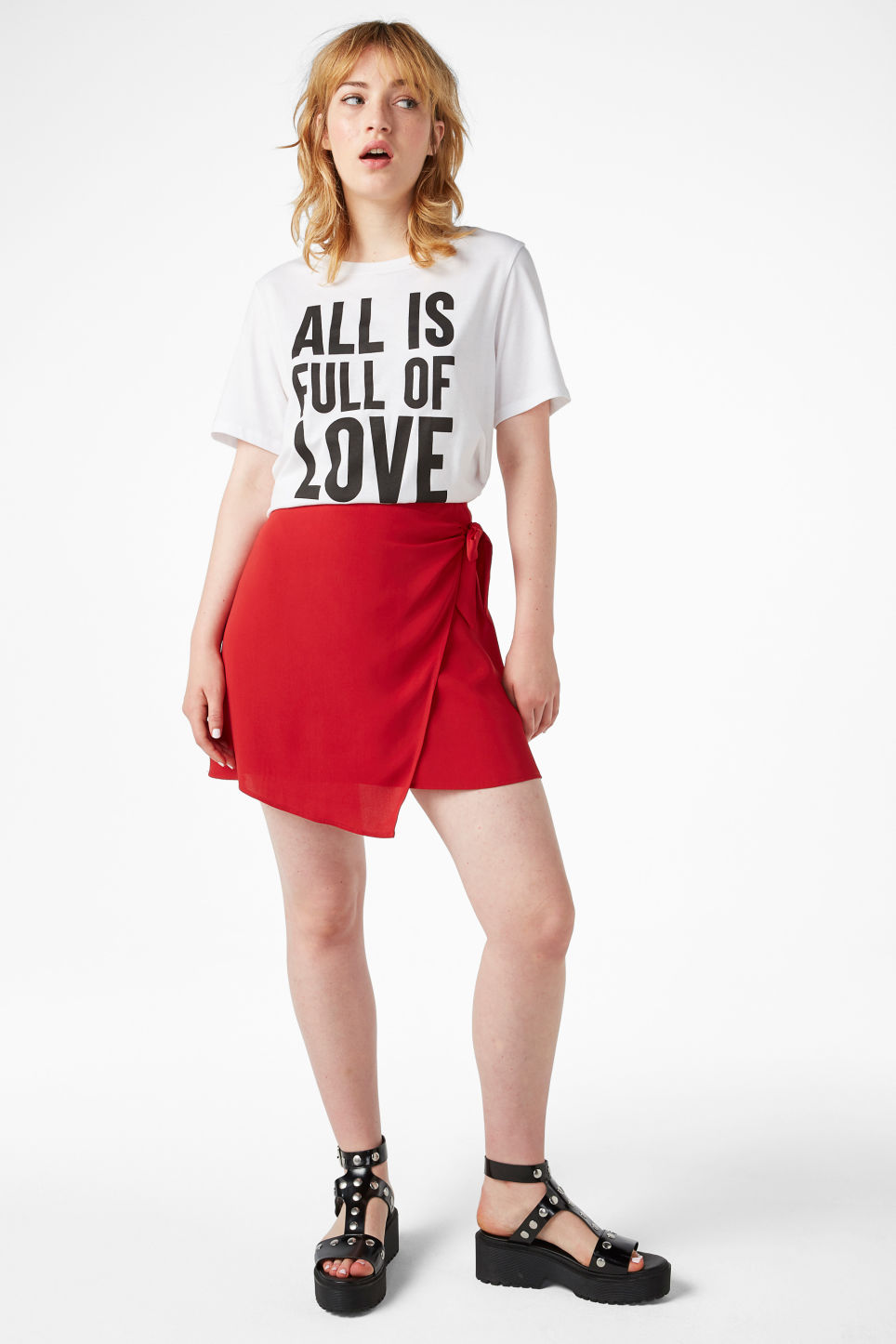 Model front image of Monki wrap front skirt in red