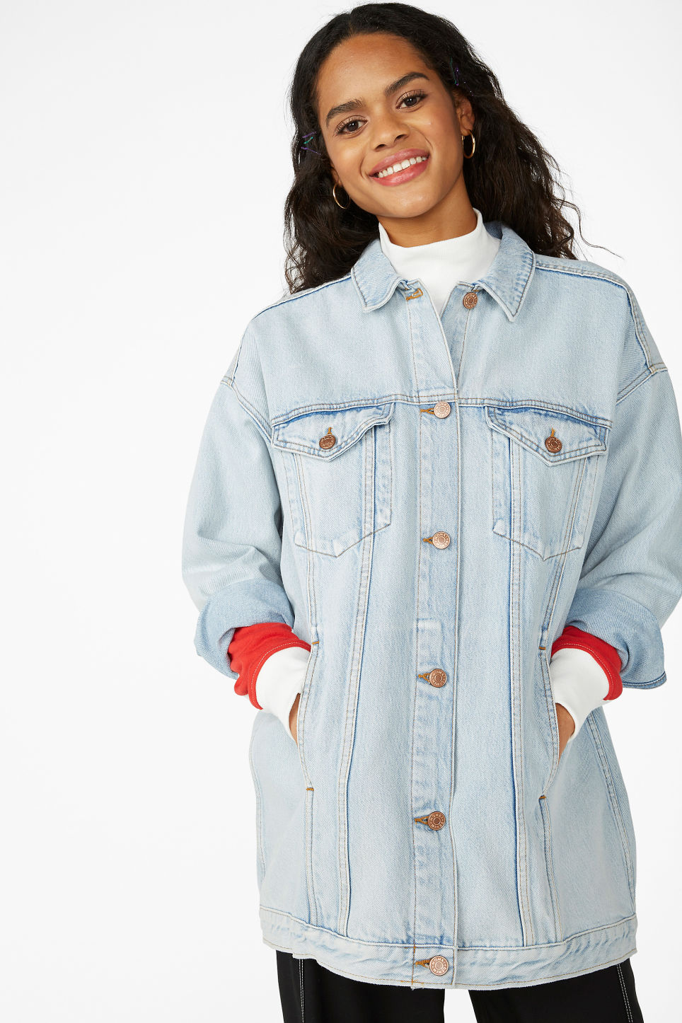 Model front image of Monki oversized denim jacket in blue