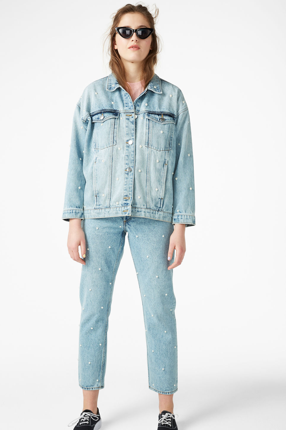 Model front image of Monki embellished denim jacket in blue