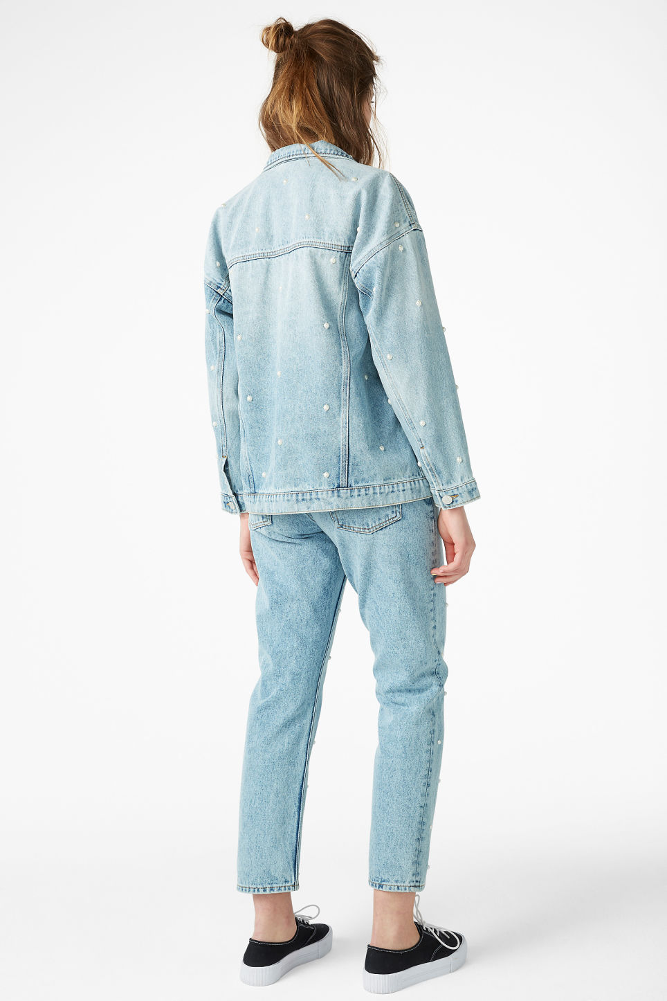 Model back image of Monki embellished denim jacket in blue