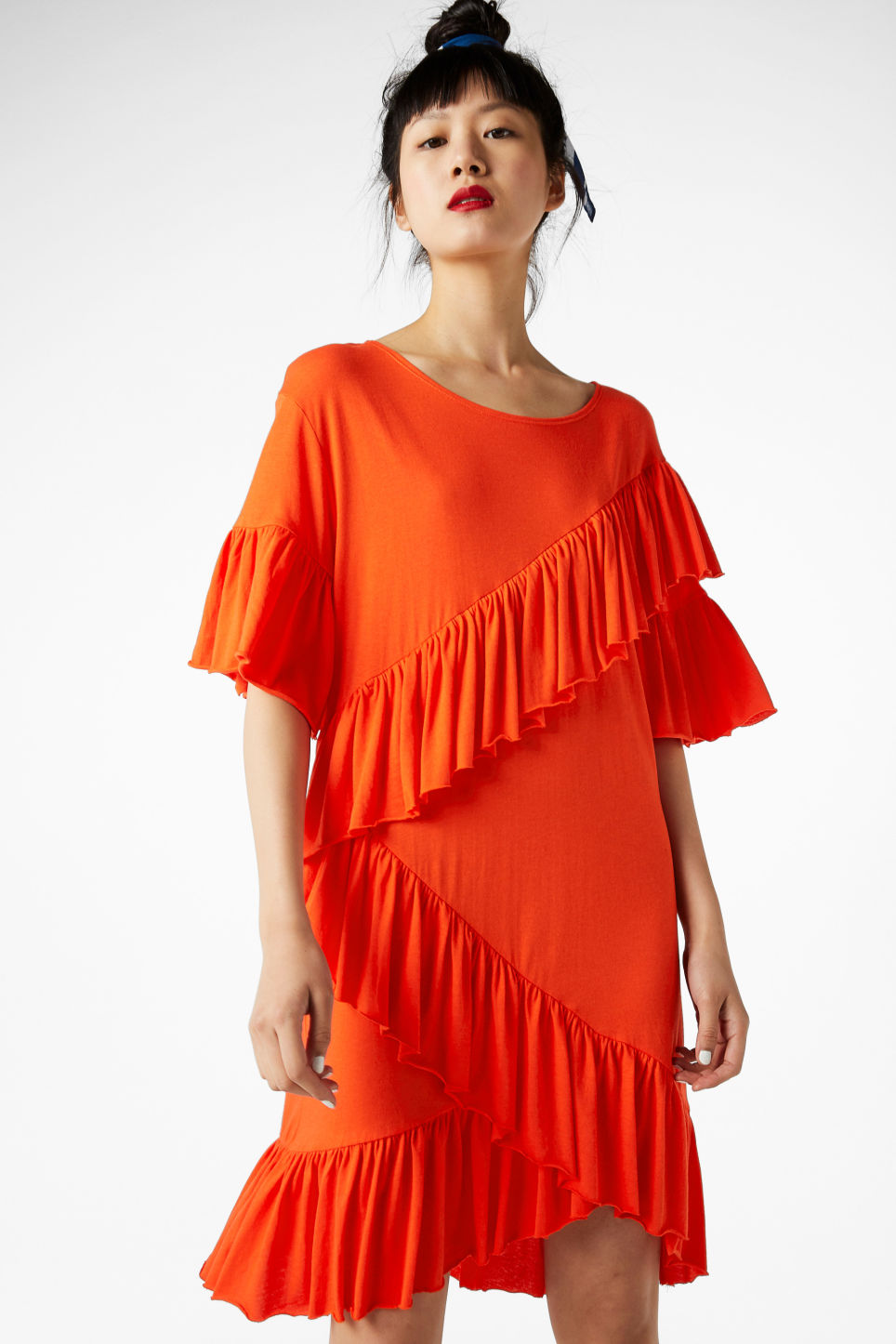 Model front image of Monki soft ruffled dress in orange