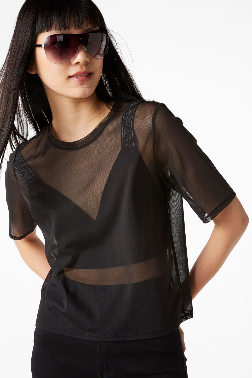 Model front image of Monki mesh top in black