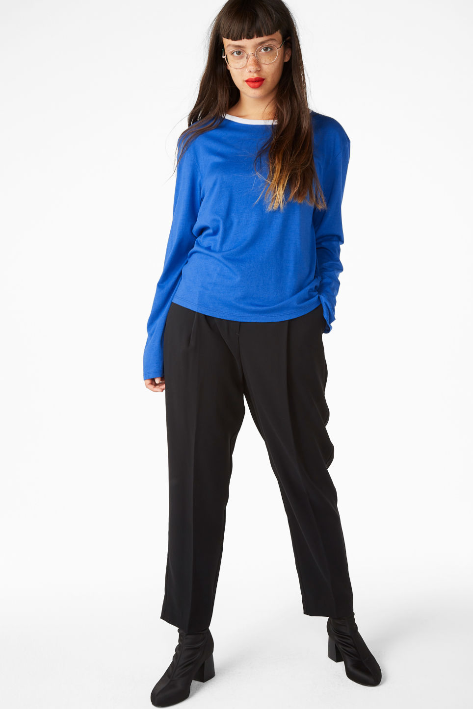 Model front image of Monki soft long-sleeved top in blue
