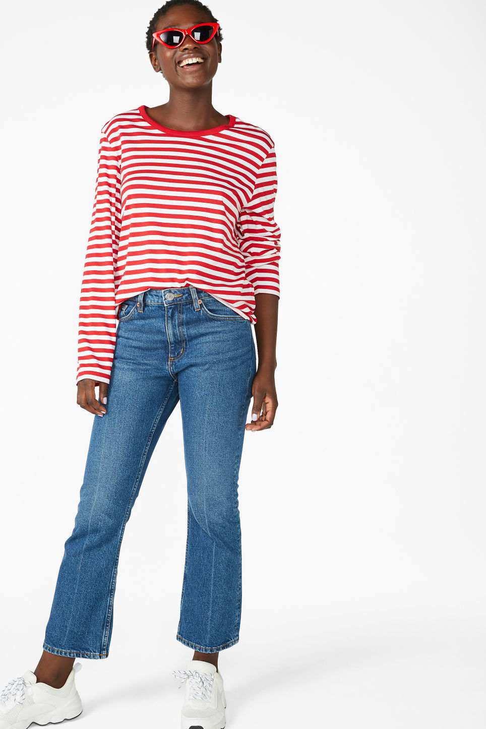 Model front image of Monki soft long-sleeved top in red
