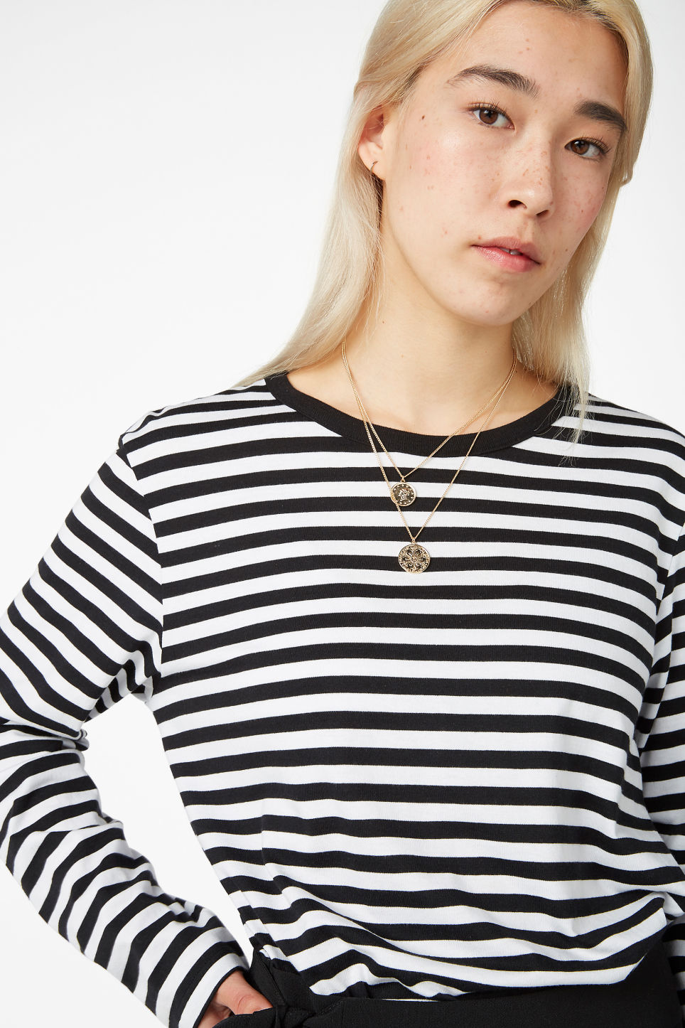 Model front image of Monki soft long-sleeved top in black