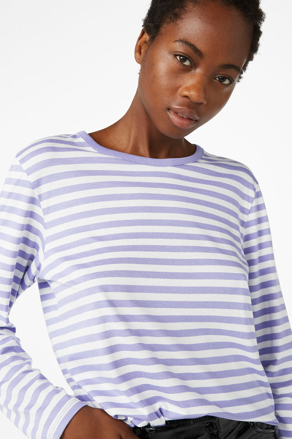 Model front image of Monki soft long-sleeved top in purple