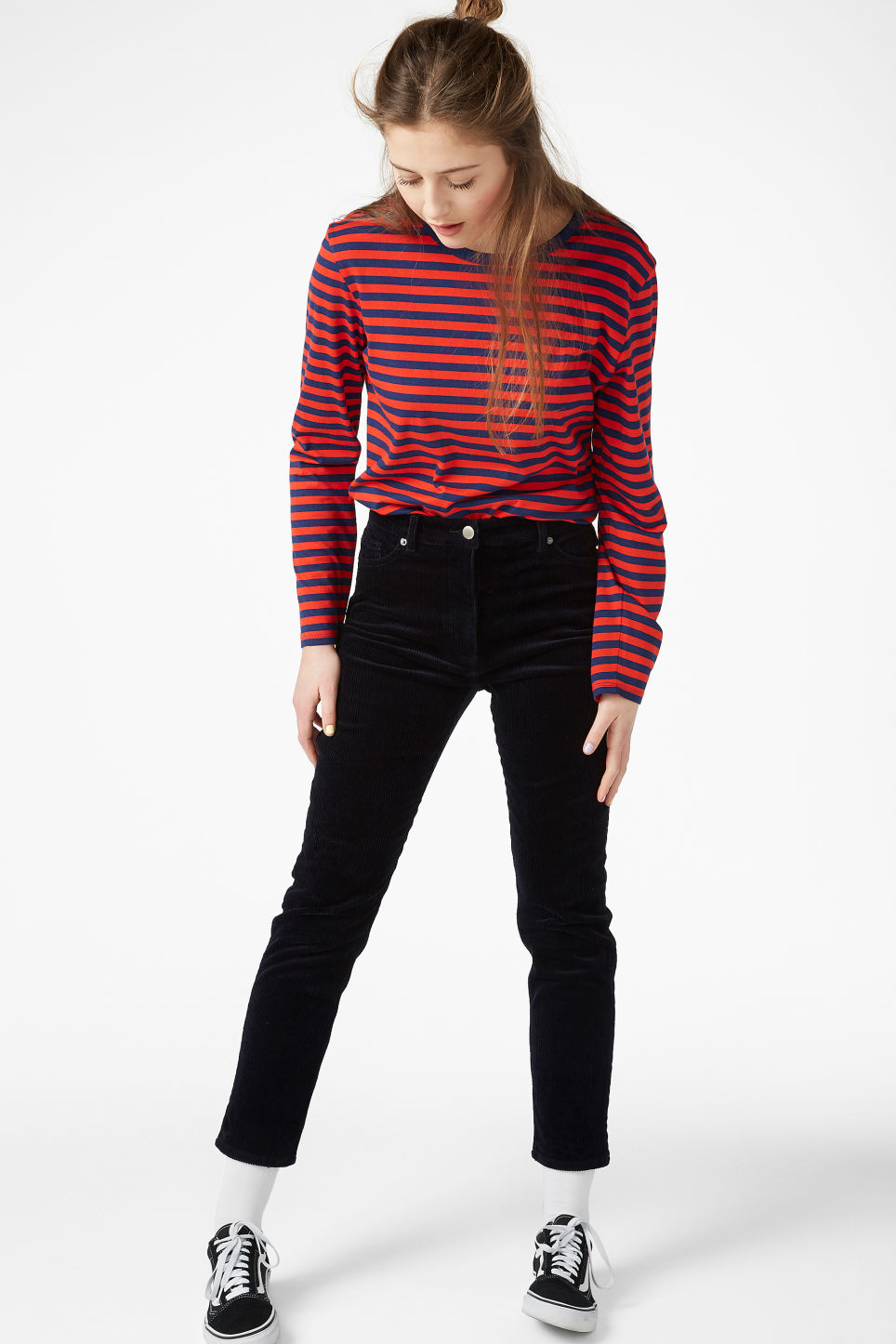 Model side image of Monki soft long-sleeved top in red