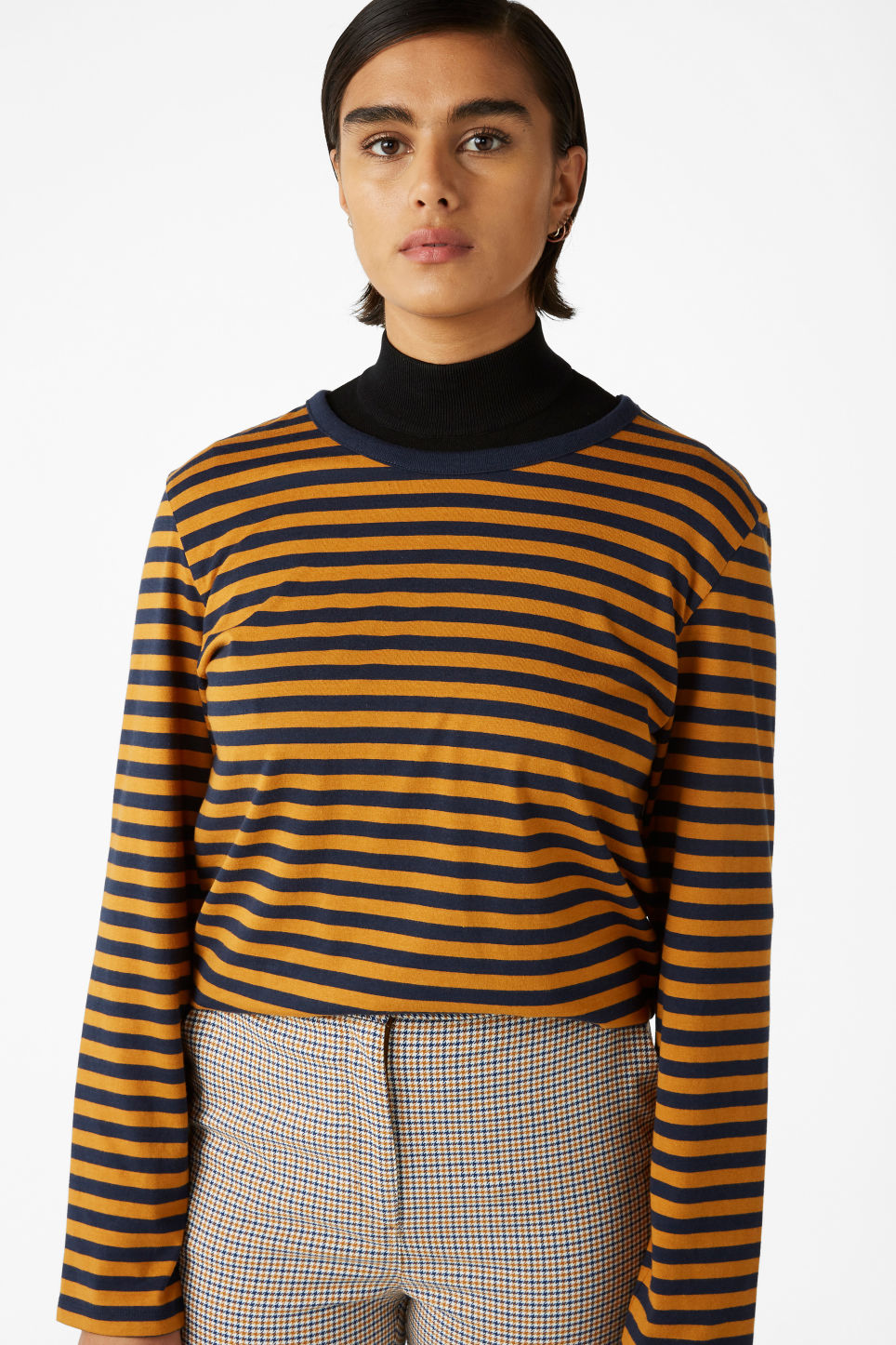 Model front image of Monki soft long-sleeved top in yellow