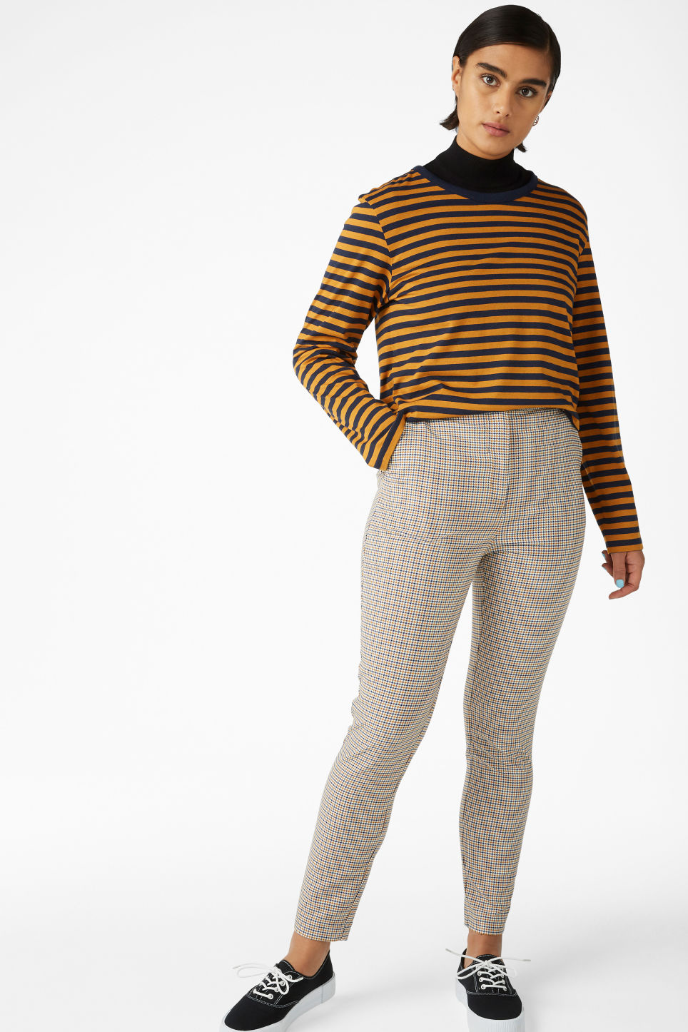 Model side image of Monki soft long-sleeved top in yellow