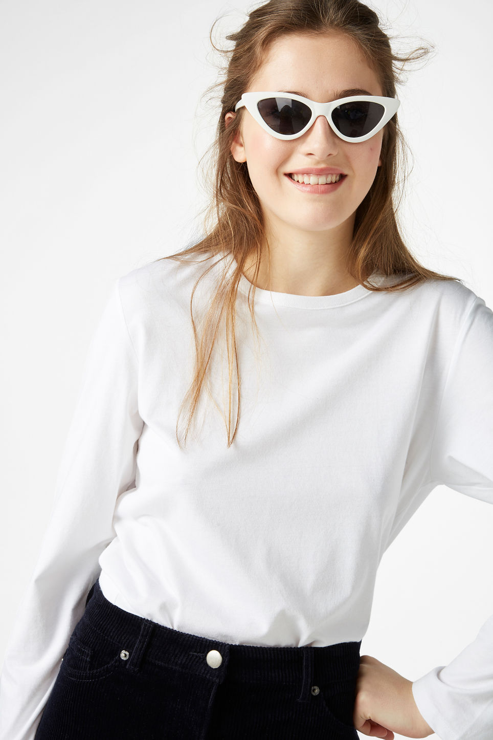Model front image of Monki soft long-sleeved top in white