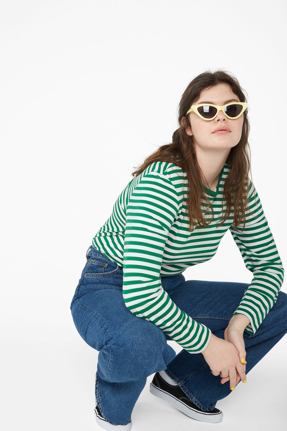 Model front image of Monki soft long-sleeved top in green
