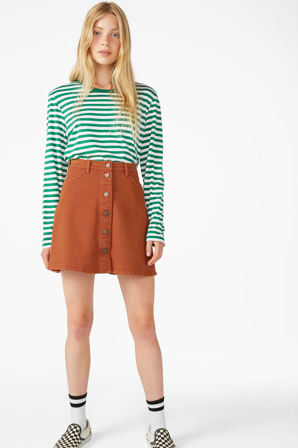 Model side image of Monki soft long-sleeved top in green
