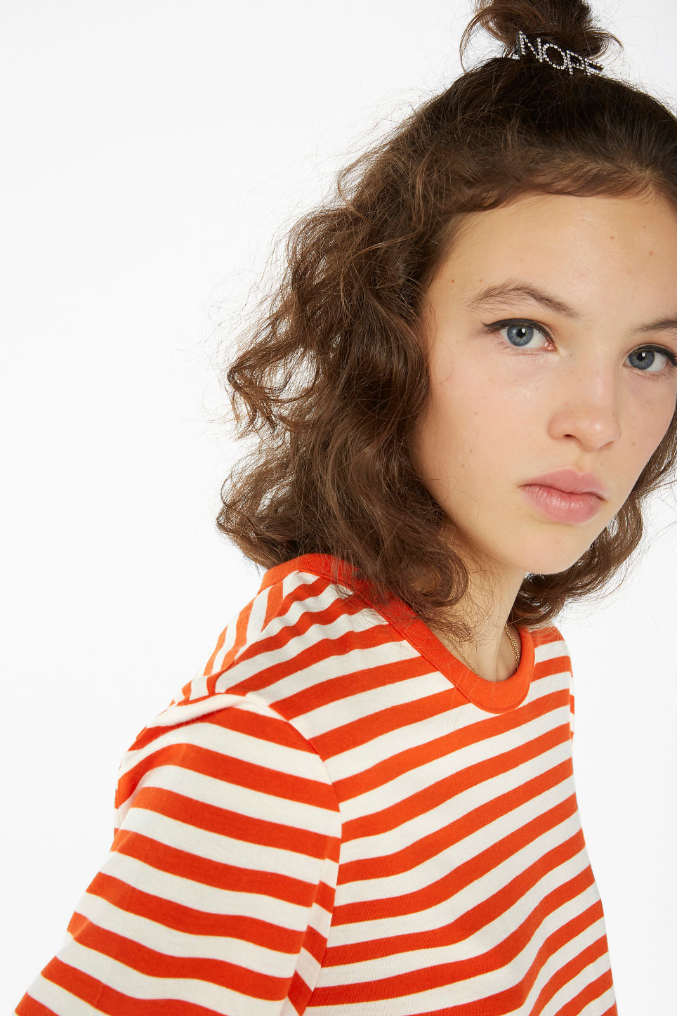 Model front image of Monki soft long-sleeved top in orange
