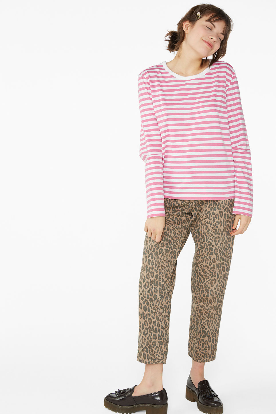 Model side image of Monki soft long-sleeved top in pink