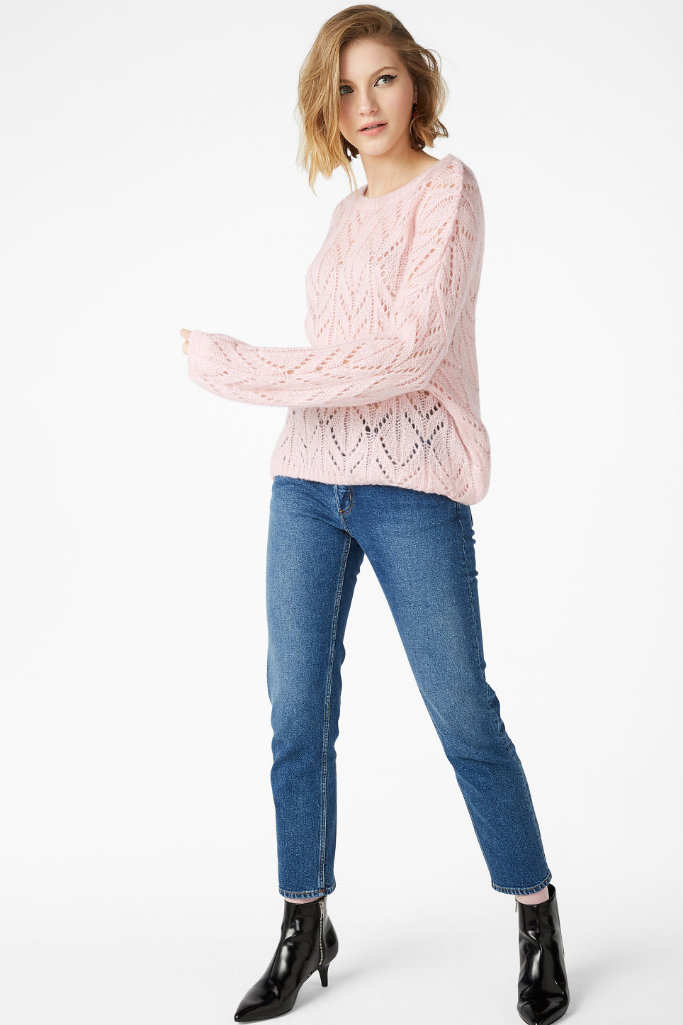 Model front image of Monki knit sweater in pink