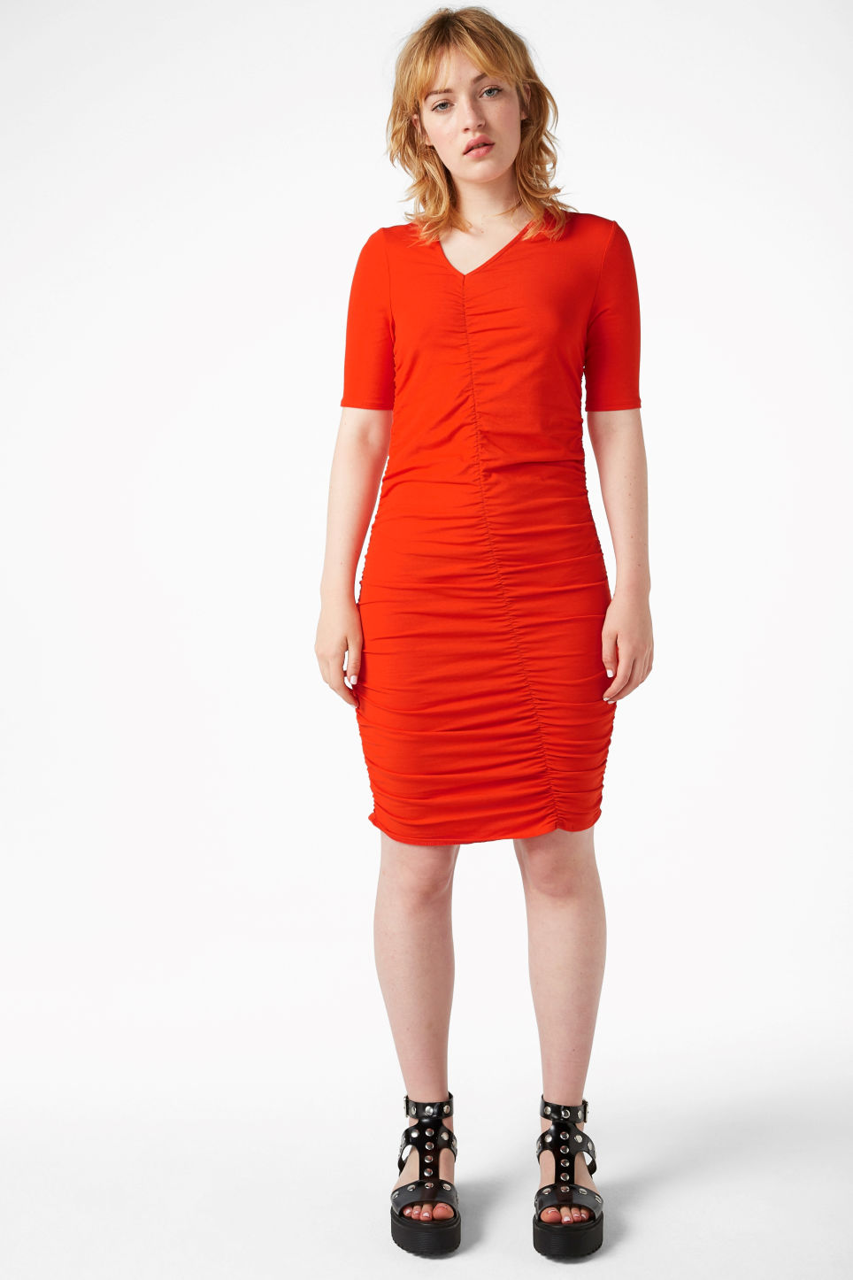 Model front image of Monki ruched detail dress in red