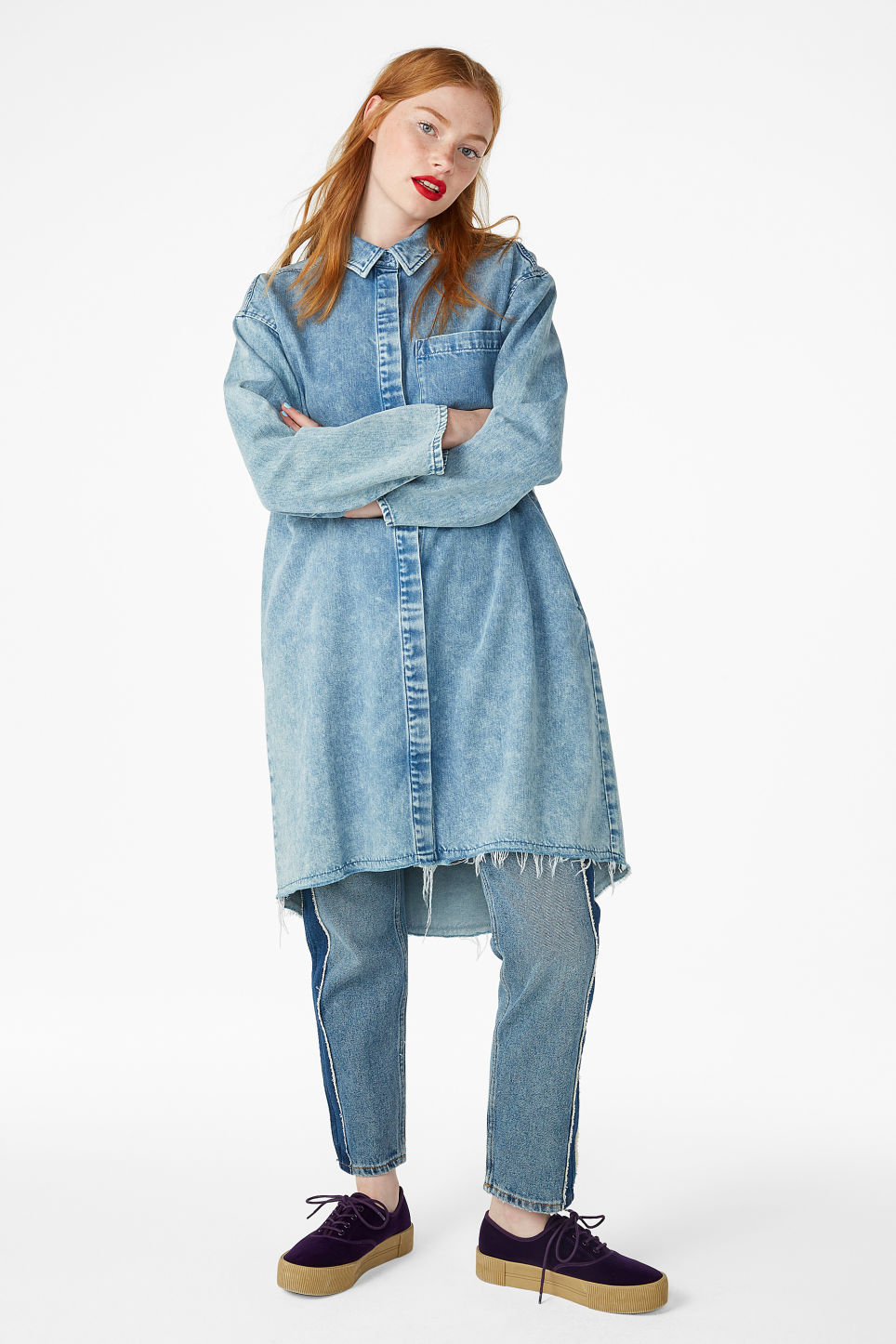 Model front image of Monki frayed hem denim shirt in blue
