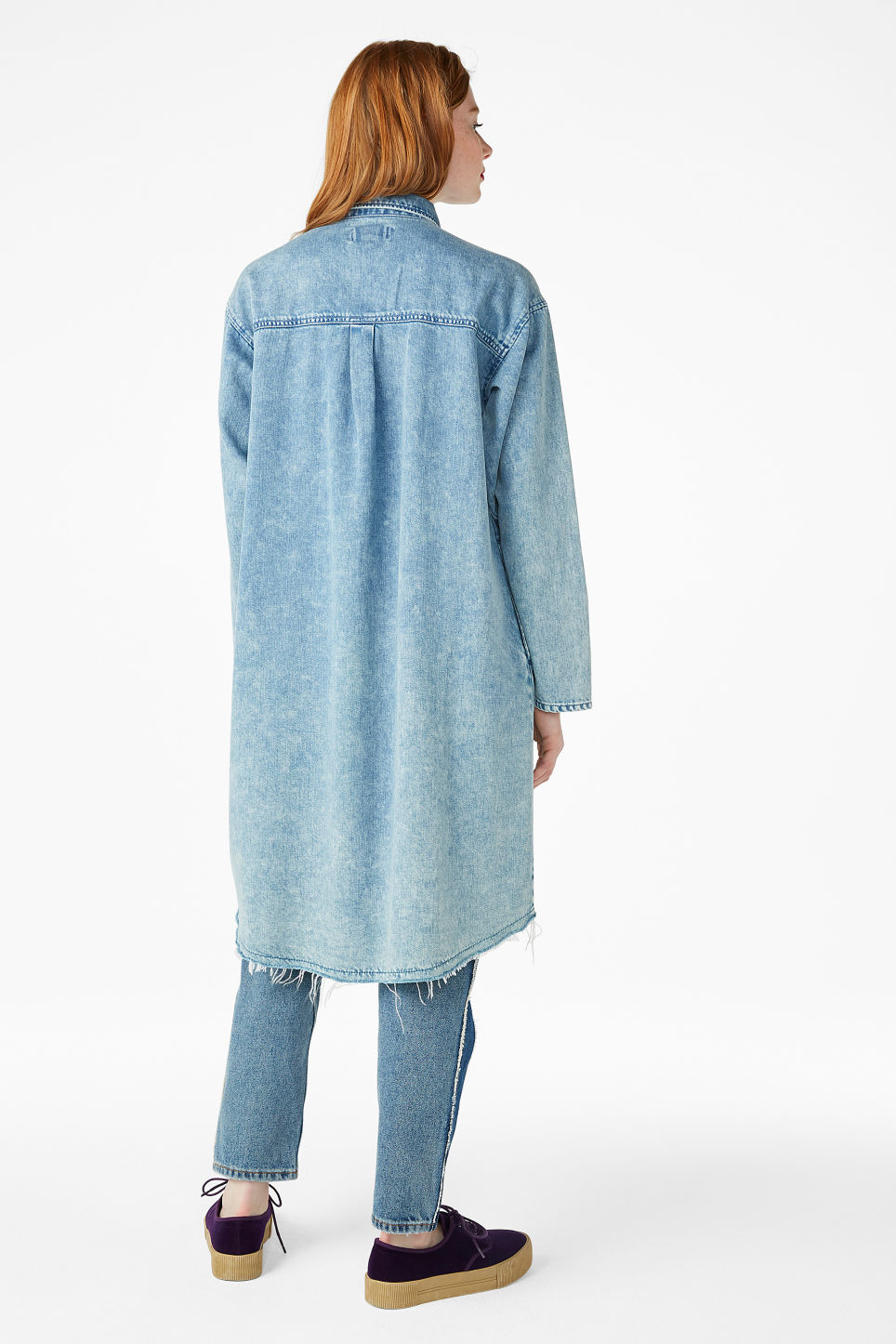 Model back image of Monki frayed hem denim shirt in blue