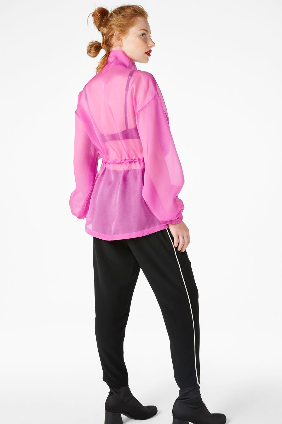 Model front image of Monki sheer scuba neck blouse in pink