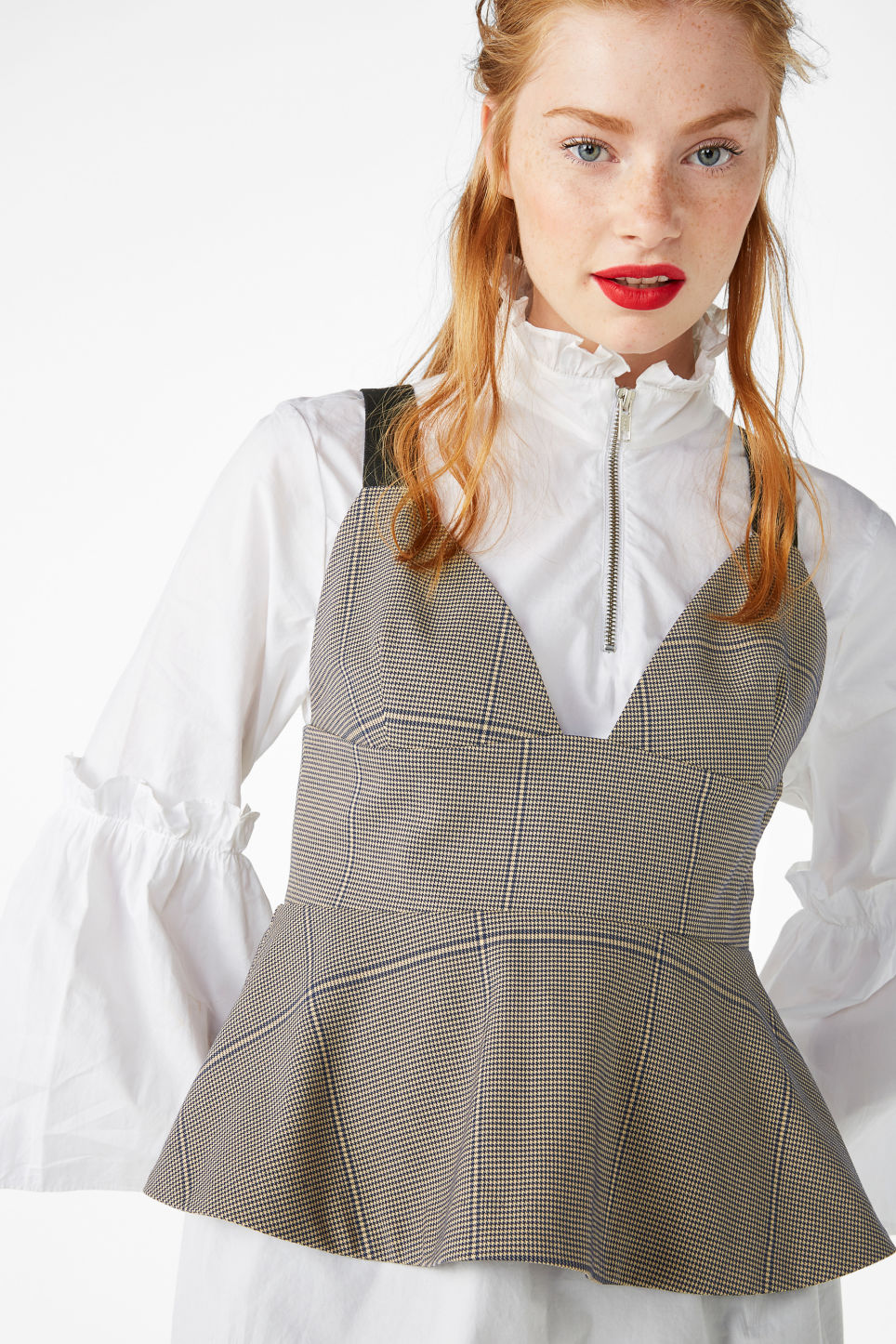 Model front image of Monki corset peplum top in beige