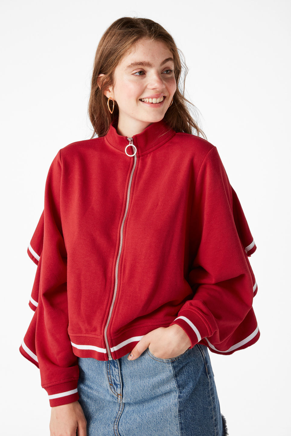 Model front image of Monki zip ruffle jacket in red