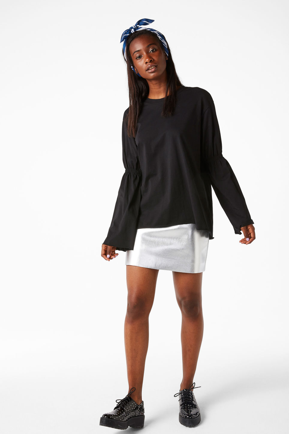 Model front image of Monki oversized fluted sleeve t-shirt in black