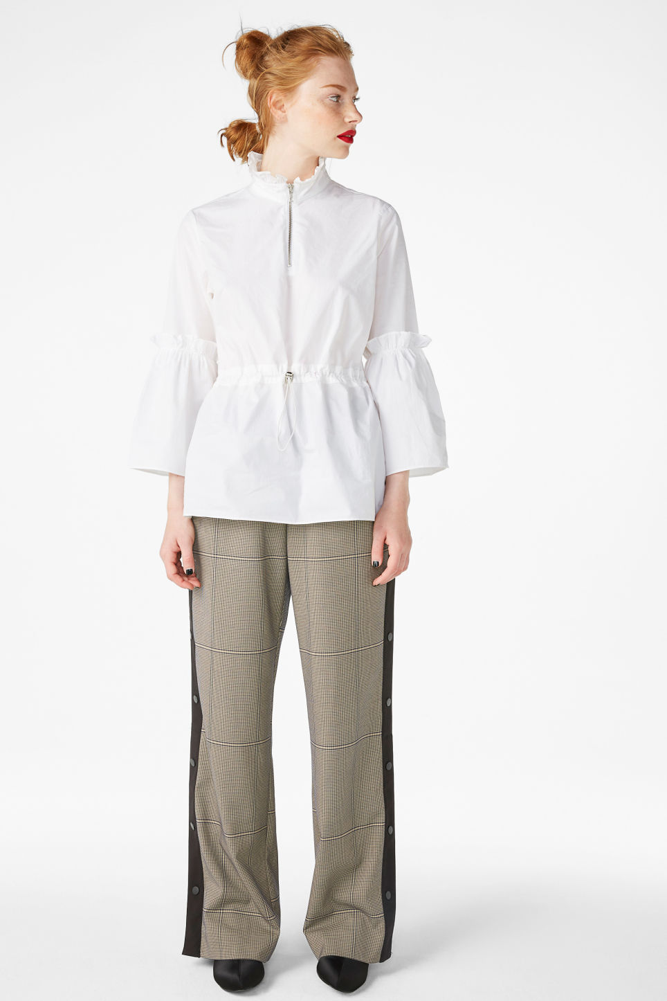 Model front image of Monki high neck trumpet sleeve blouse in white