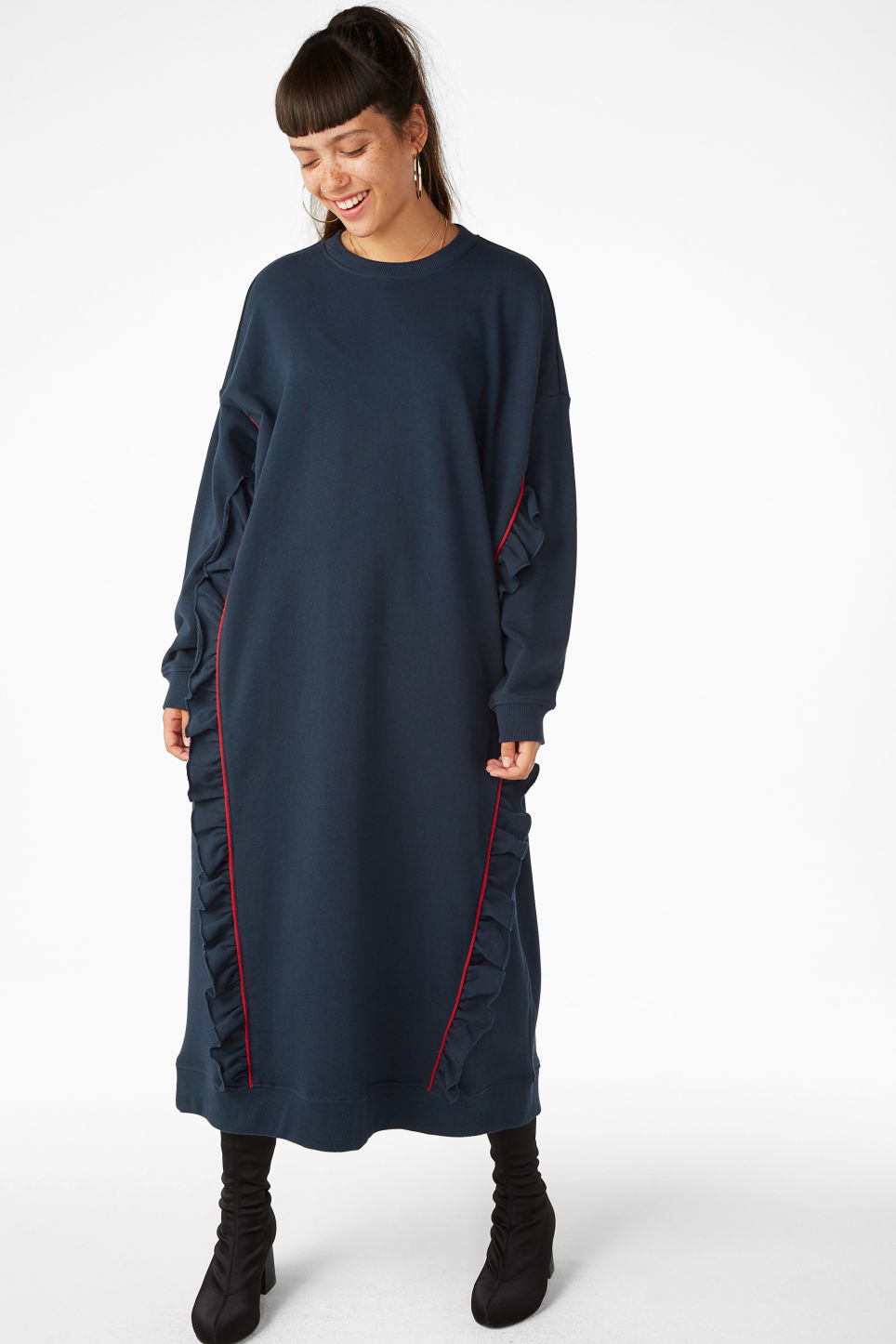 Model front image of Monki oversize ruffled sweatshirt dress in blue