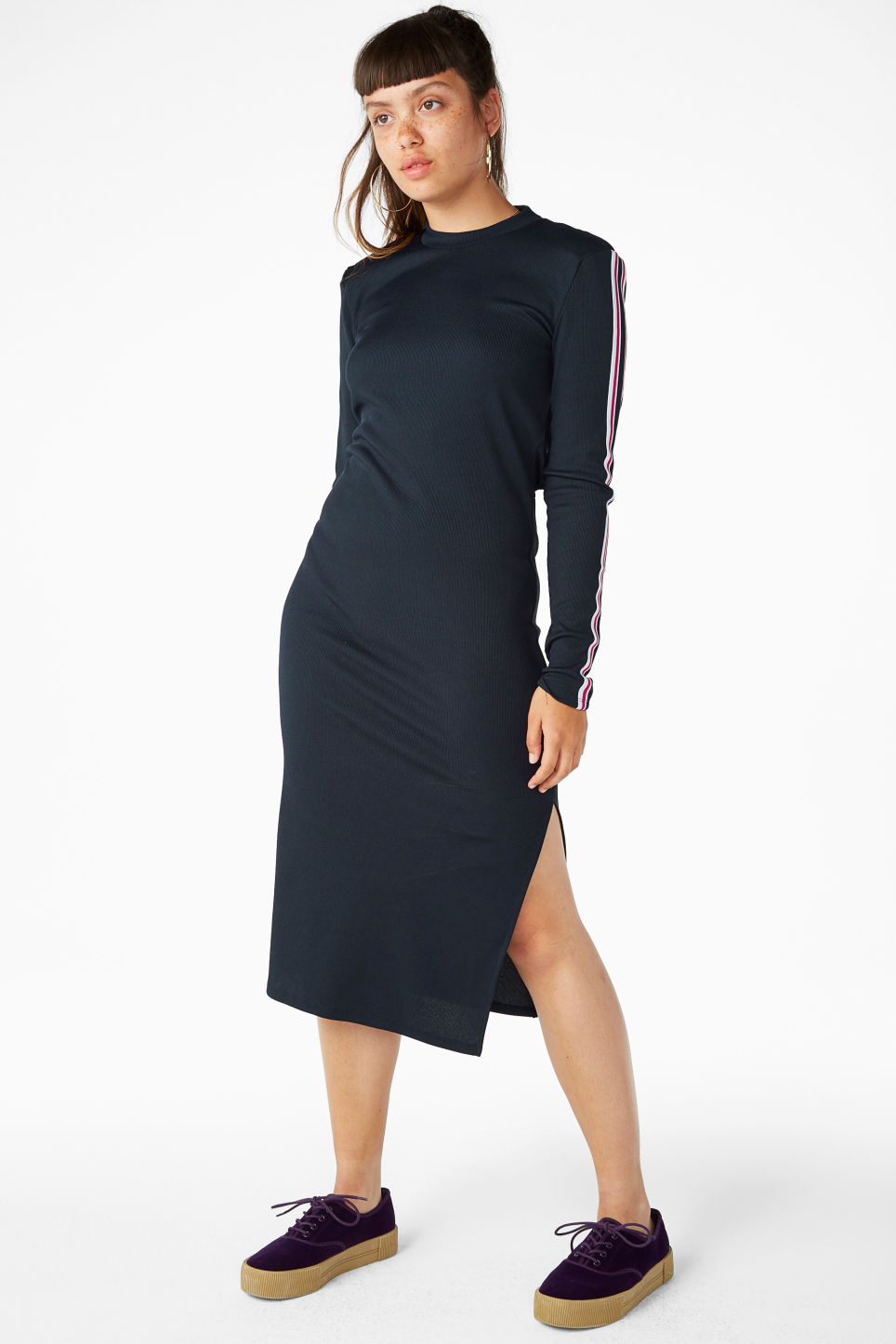 Model front image of Monki long dress with cutout back detail in blue