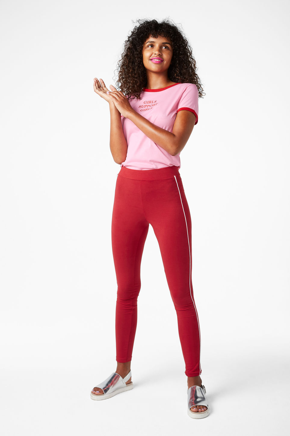 Model front image of Monki striped leggings in red